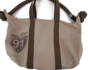 Armani Exchange A/X Tan Cotton Handbag Shoulder Bat Green Rope Twisted Handle