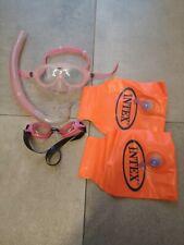 Intex Schwimmflügel (18-30 kg) 2 tl & Schnorchel Set Taucher Brille, rosa