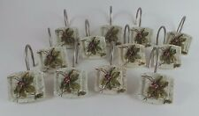 Croscill 12 Shower Hooks Leaves Berries Stone Look Decorative Hook Ring