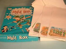 Crest-Craft's Male Box Wwii Cartoon Stationery Paper Envelopes Post Card Pin-up