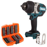 "Makita DTW1002 18V 1/2"" Brushless Impact Wrench With 53pcs Screwdriver Bit Set"