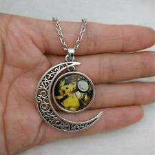 Pokemon Pikachu Cabochon Glass Tibet Silver Chain Pendant Necklace