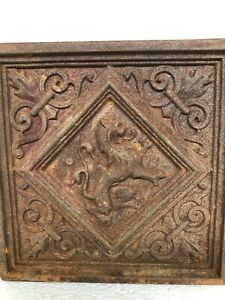 Exceptional & RARE 19th C. French Cast Iron Tile with Lion/Gargoyle - 4 of 14