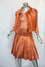 PRADA Salmon*SILK* 3-PC Top+Jacket+Pleated Skirt Outfit Suit Set 38/S 42/M