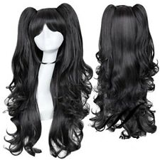 Fate/Stay night Tohsaka Rin Cosplay Wig Black 65cm Long Wavy Wig+ponytail 60cm