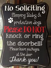 #9 No Soliciting Sign wood, black & white home privacy door sleeping baby, dog