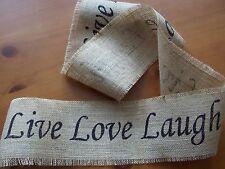 "LOT 3 rolls LIVE LOVE LAUGH NATURAL BURLAP RIBBON 4"" WIDE 6' COUNTRY PRIMITIVE"