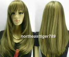 Hot Sell Fashion Long Brown Mix Blonde Straight Women's Lady's Hair Wig Wigs+Cap