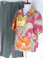 Tommy Bahama Floral Shirt Green Crop Pants M 10 Silk