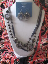 SIMPLY VERA WANG NWT $70 pewter clear stones womens LONG necklace earrings set