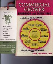 Vintage COMMERCIAL GROWER HANDBOOK & DIARY 1960 hc book Benn Bros London