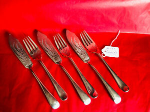Antique Daniel & Arter SP Etched Snowdrop Fish Knives/Forks (3 Pairs) (FDB7)