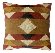 Handwoven Jute Cushion Kilim Pillow Case Vintage Rustic Bohemian Hippie Throw