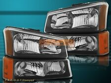 03-06 Chevrolet Silverado/Avalanche Black Housing Headlights Clear Lens 4 Pcs