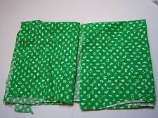Vintage Green & White Print Remnant Sewing Arts & Crafts Fabric