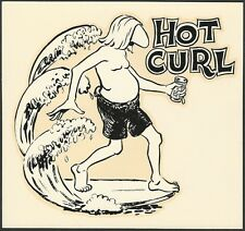 "VINTAGE ORIGINAL 1963 SURFER ""HOT CURL"" SURFING WATER DECAL ART MICHAEL DORMER"