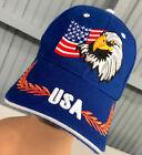 Patriotic USA Stars Stripes US Flag Eagle Adjustable Baseball Cap Hat