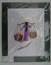 Hand Embroidered Silk Picture. Flower Woman. Vietnam. 30cm x 24.5cm. Mounted.