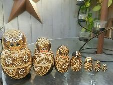 Russian Nesting Doll 7 Pc Set Matryoshka Raw Wood Burned Gold Accents signed !