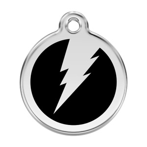 Red Dingo Dog Cat Pet ID Tags Charm FREE Personalized Engraving LIGHTNING BOLT