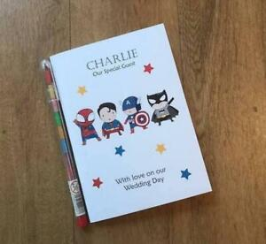 A6 Personalised Childrens Wedding Colouring Activity Pack Favour Superhero cover