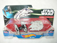 STAR WARS HOT WHEELS STARSHIPS FIRST ORDER TIE FIGHTER vs MILLENNIUM FALCON NEW!