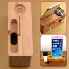 Bamboo Wood Charging Dock Station Stand Holder Fit Apple iWatch iPhone iPads