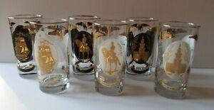 Set of 8 Vintage Gold Trim Glasses (4) Frosted White & Gold (4) Black & Gold