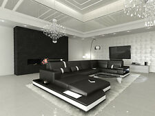 Corner Sofa Sofa Set Leather Sofa designer-sofa Couch Messana LED Lighting