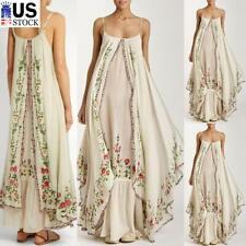 Women's Strappy Long Maxi Kaftan Dress Ladies Holiday Beach Sleeveless Sundress