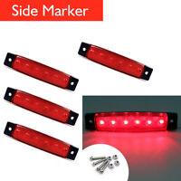 4x Red 12V 6 LED Bus Van Truck Trailer Side Marker Indicators Lights Waterproof