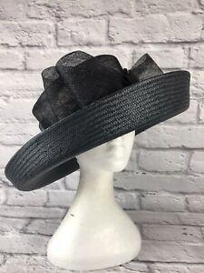 Ladies Blue Straw Hat Elasticated inner Rim 1085
