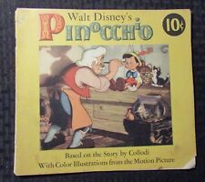 1939 Walt Disney's Pinocchio Dell Motion Picture Storybook Sc Gd+ 2.5
