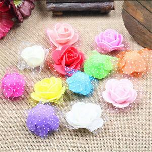wholesale 100PCS 3-4cm Mini Gauze PE Foam Roses Flower Wedding Decor DIY