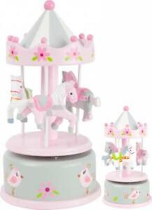 Spieldose Spieluhr Holz Kinderspielzeug Small Foot Musikuhr Pferd Karussell rosa