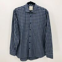 Billy Reid Mens Size M Blue Plaid Button Front Long Sleeve Shirt Standard Cut