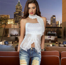 Womens White Strapless Floral Lace Top