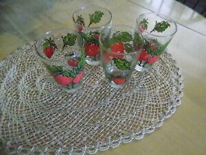 4 Strawberry Glasses