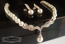 Elegant Stunning 18k Gold Plated rhinestone Crystal Pearl Necklace Earring set