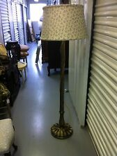 Bronzed Wooden Floor Lamp with Silk Aqua Coral Pattern Shade