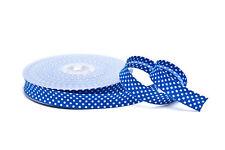 Schrägband Einfassband royalblau mit weißen Punkten 18 mm