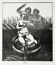 KARL-GEORG HIRSCH - Susanna im Bade - Holzschnitt 1973