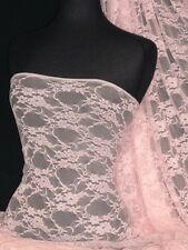 Baby Pink flower soft stretch lace lycra fabric Q137 BPN