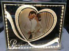 LED USB Crystal Glass Diamante Filled Heart Photo Frame Valentine Wedding Gift