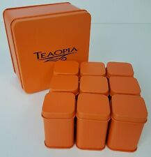 Teaopia 9 Small Empty Orange Tea Canisters Set Lot Stored in Bigger Container