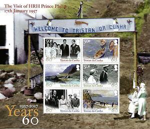 Tristan da Cunha Royalty Stamps 2017 MNH HRH Prince Philip Visit Art 6v M/S