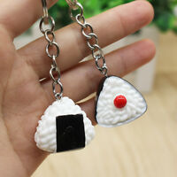 2Pc Cute Mini Resin Japan Glutinous Sushi Rice Ball Pendant Keyring Bag Keychain