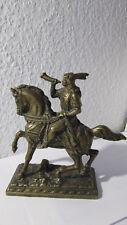 """Antike Bronze mit Patina """"Trompeter Krieger auf dem Pferd"""" Figur ca 1,2kg"""