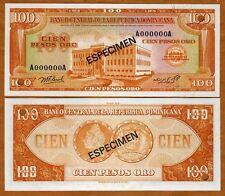 Specimen, Dominican Republic 100 Pesos Oro 1976 P-113s UNC > ESPECIMEN