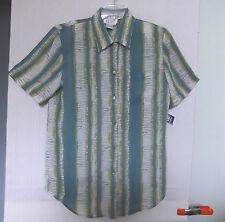 Tess Sz M Jade Green & Beige Printed Stripe Polyester Blouse, short sleeves NWT